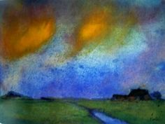 Emil Nolde, Paysage de promenade sous un ciel du soir, aquarelle, env. 17x23 cm, Fondation Nolde de Seebüll,