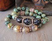 Stretch bracelet 'TRIBECA - African Turquoise/Onyx ' green, black, earthy stone, vintage rhinestones, rustic boho, trendy stack bracelet