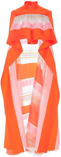 DELPOZO Sleeveless Striped Organza Top