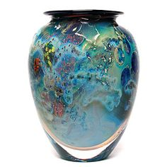 "side view of 5"" inhabited planet vase"