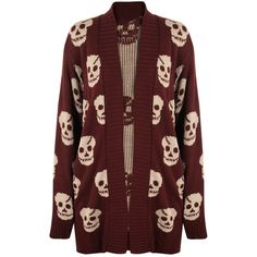 Brylee Knitted Skull Cardigan ($29) ❤ liked on Polyvore featuring tops, cardigans, wine, red long sleeve top, long sleeve cardigan, skull print cardigan, long sleeve tops and red top