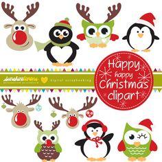 Happy Happy Christmas Clipart  Christmas by SunshineLemons on Etsy, $4.95