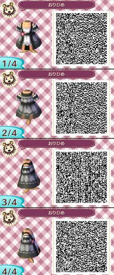 Animal Crossing New Leaf QR codes ありひめ black dress ..for if I ever get the new animal crossing.. or a 3ds xD
