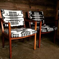 Vintage Gunlock chairs recovered in contrasting Pendleton wool, refinished walnut frames #HomeAppliancesPop