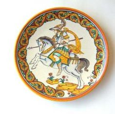 "DECORATIVE DISK: KNIGHT - AMERIGO: 12"" (30cm) Diameter    This Disk is Drilled for Hanging.    This Piece is hand painted in Deruta."