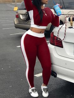 Two Piece Womens Long Sleeve Workout Crop Top + Skinny Pant Set Women's Sets Daisy Dress For Less Suits For Women, Clothes For Women, Sexy Women, Two Piece Pants Set, Tracksuit Set, Dresses For Less, Mode Streetwear, Maxi Dress With Sleeves, Pants Outfit