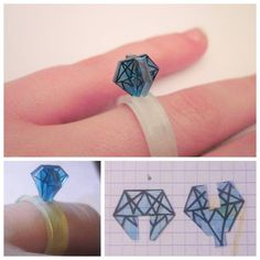DIY 3D Shrink Plastic Diamond Ring. Tutorial by gwennie363 on Craftster.org here. *Scroll down the page for the actual tutorial.