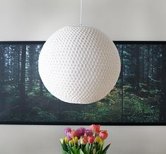 The lamp is crocheted over a rice paper lamp, free pattern! Click on picture