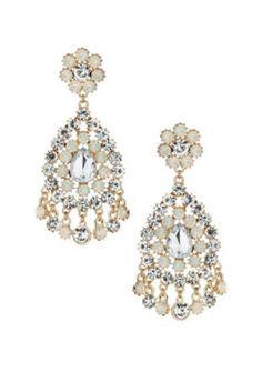 diamond flower dangling earrings