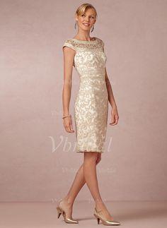 Etui-Linie U-Ausschnitt Knielang Spitze Kleid für die Brautmutter (0085055960)