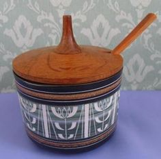 Vintage Ambleside Studio Pottery Sgraffito Preserve Pot with Wooden Lid & Spoon - I have an example with a wooden lid. Dining Area, Kitchen Dining, Car Boot, Charity Shop, Sgraffito, Ceramic Design, Sideboard, Preserves, Spoon