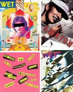 Postmodernism: many bright colours, playfulness, form above function, photomontage for fun & aesthetics