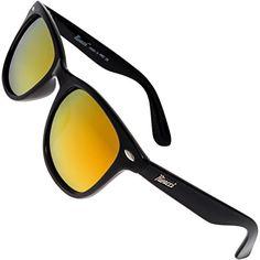 f5d3692e96 Rivacci Men Women Wayfarer Black Frame   G15 Green - Gray Lens Classic  Retro Polarized Sunglasses at Amazon Men s Clothing store