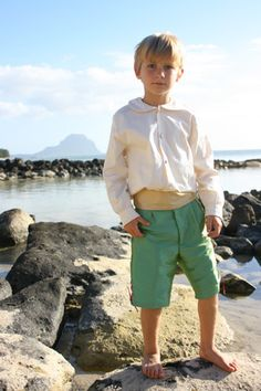 Lovely gold and green page boy outfit for a beach wedding... design: littleeglantine.com