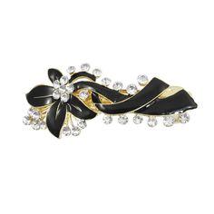 Best Sale Faux Crystal Decor Bowknot Clip Hair Barrette, Gold Tone/ Black