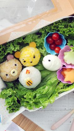 Bento Box Bears and Bees : Because everyone knows cute food tastes better, try your hand at these totes adorbs rice and egg balls. Because everyone knows cute food tastes better, try your hand at these totes adorbs rice and egg balls. Bento Box Lunch For Kids, Bento Kids, Cute Bento Boxes, Bento Recipes, Baby Food Recipes, Easter Recipes, Bento Kawaii, Comida Disney, Japanese Bento Box