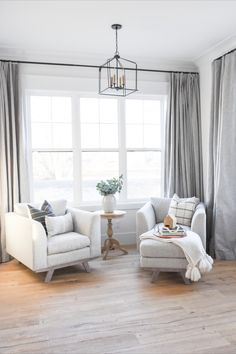 The most stunning window in this gray bedroom corner, featuring Ash drapery from Barn & Willow. Grey Interior Design, Bedroom Corner, Custom Window Treatments, Fire Places, Custom Windows, Gray Bedroom, Window Coverings, Drapery, Ash