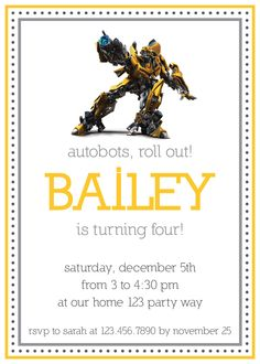Transformers, Optimus Prime, or Bumblebee birthday invitation. $11.00, via Etsy.