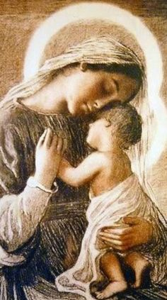 Madonna and Jesus Jesus Mother, Blessed Mother Mary, Blessed Virgin Mary, Jesus And Mary Pictures, Mary And Jesus, Love Pictures, Novena Prayers, Catholic Prayers, Catholic Art