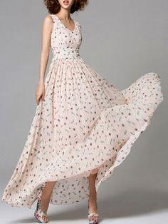 higher waist   Chiffon Casual Floral Sleeveless Floral-print Maxi Dress