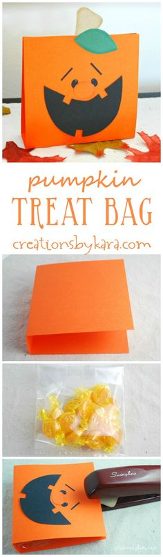 Pumpkin Treat Bag tutorial - includes free pattern! Such a cute Halloween party favor or thank you gift!