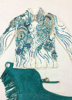 Teal and White Outfit by Ritzee ~ Approx 6/8