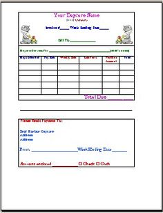 late payment notice printable for child care | childcare forms, Invoice examples