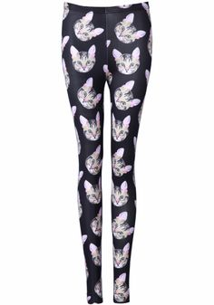 Black Skinny Cats Print Leggings - I would only wear these at home though