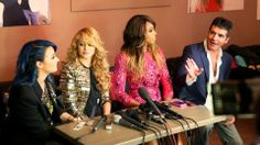 Demi Lovato, Paulina Rubio, Kelly Rowland, and Simon Cowell  For more pics: http://txfusa.tv/IezUVJ
