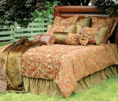 Nutmeg Leaf cabin bedding has brown, tans, & dark greens that will create the perfect bedroom getaway.  Made in the USA!- Cabin Decor