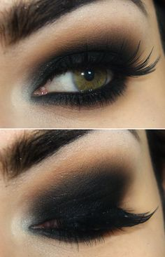 Super black smoked out eyes, Black liner smudged all over lids, blended out.