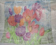 90 x 90 cm silk scarf hand painted.