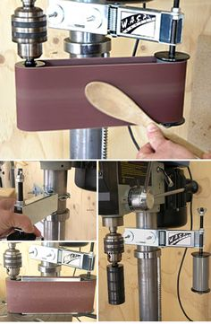 WASP Sander  :: Drill press sander attachment     http://onlinetoolreviews.com/reviews/waspsander.htm