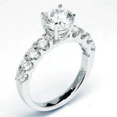 Four Prong Diamond Engagement Ring with Side Stones set in U-Prong