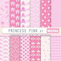 "Princess digital paper: ""PINK PRINCESS digital paper"" printable princess paper for scrapbooking, birthday parties, baby showers, invites"