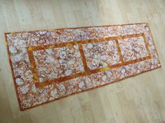 Quilted Table Runner  Orange Gold Brown Batik by QuiltinWaYnE