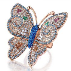 MultiColor Butterfly Swarovski Crystal Ring Size 6 7 18k Gold GP Fashion Gift R5 #Bearfamilybirth #Cluster