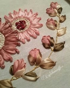 Wonderful Ribbon Embroidery Flowers by Hand Ideas. Enchanting Ribbon Embroidery Flowers by Hand Ideas. Learn Embroidery, Hand Embroidery Patterns, Embroidery Stitches, Embroidery Kits, Embroidery Supplies, Shirt Embroidery, Embroidery Techniques, Ribbon Embroidery Tutorial, Silk Ribbon Embroidery
