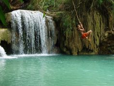 This is one wat to experience the Kuangsi Waterfalls! #Laos #travel #AdventureHoney