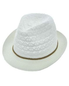 Womens BWhite Cotton Crochet Lace Fedora Hat Brown Braided Leather Cord Accent UV Protection 50+  White / 100% Cotton / Upf 50+ / Excellent Uv