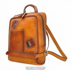 6b530ca48c Pratesi  Firenze  leather backpack laptop bag Italy Hnadmade Leather Laptop  Backpack