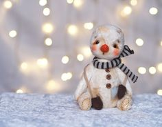 Made to order Mike the Snowman - artist teddy ooak toy from vintage plush Christmas gift by Suvoriki on Etsy https://www.etsy.com/listing/252860487/made-to-order-mike-the-snowman-artist