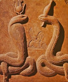 "ancient-egypts-secrets: "" Stela with two snake - goddesses """