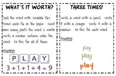 Spelling and Sight Word Activities $1.50