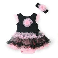 Baby Girl Ruffle Dress Romper Dress & Headband