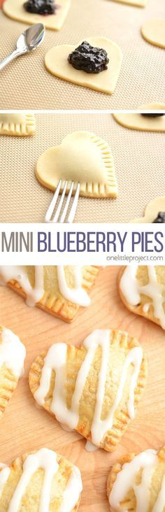 These heart shaped mini blueberry pies are SO EASY to make and they taste amaaaaazing! They use jam as the filling and you can even use store bought pie crust! Find ideas for your next dessert recipes! We got the best desserts from no bake, chocolate, app Mini Desserts, Just Desserts, Delicious Desserts, Yummy Food, Homemade Desserts, Christmas Desserts, Easy Picnic Desserts, Easy Desserts To Make, Easy Recipes For Desserts