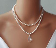 Wedding Necklace, Bridal Necklace, Swarovski Pearls by AmbrosiaBridal, $82.00