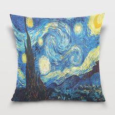 Starry Night Painting Throw Pillow Cover Pillowcase Room Dorm Decor Sofa Decorative by EvaOneStudio