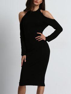 Black Open Shoulder Backless Bow Halter Dress -SheIn(Sheinside)