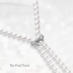 #Mikimoto's delicate ribbon motif is an enhancer to a classic pearl strand. It's finely crafted with exquisite #diamonds and white gold, and designed to be adjusted at different points of the strand, offering a multitude of looks for a variety of occasions.